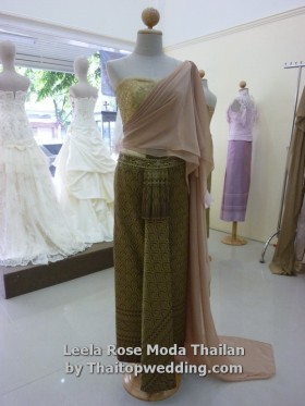 Gold color Thai traditional dress