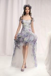 ชุดแต่งงานแบบสั้น 2012 เครปอก ผ้าพิมม์ลายดอก