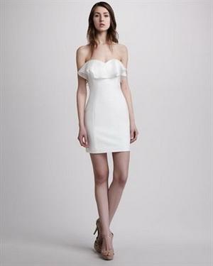 ชุดแต่งงานสั้น LWD เจ้าสาว สีขาว คอเสื้อ & แขนต่างๆ