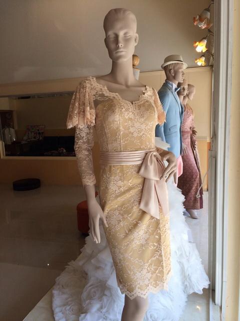 เสื้อผ้างานแต่งงาน ลูกไม้ เดรส คอวี แขนยาว แขนพอง